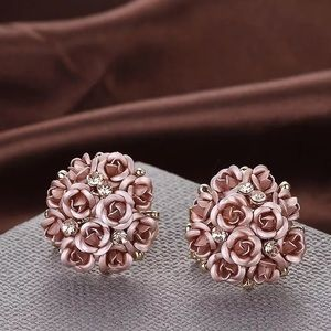Rose Gold Bouquet Earrings Korean Round Set